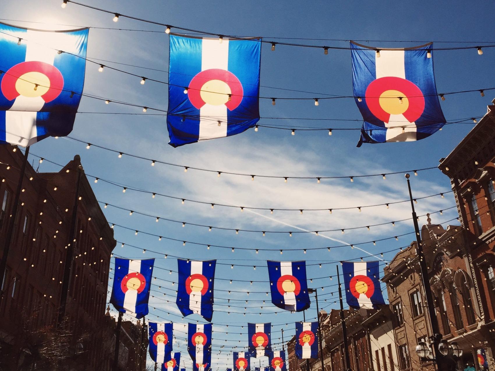 Larimer Square-Colorado Flags